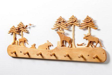 Kinder-Holz-Garderobe nordische Landschaft