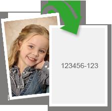 Die Motivnummer finden Sie auf der Rückseite des Fotos.